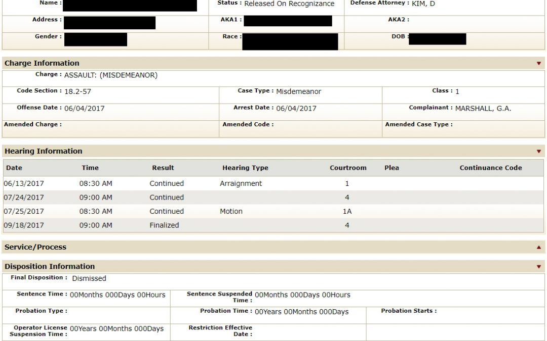 2017/09/18: Assault and Battery resulting in bodily injury Dismissed (Accord and Satisfaction)